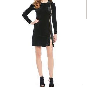 Zella Aurore Velvet Exposed Zipper Dress